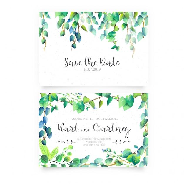 Invitation de mariage avec des fleurs sauvages Vecteur gratuit