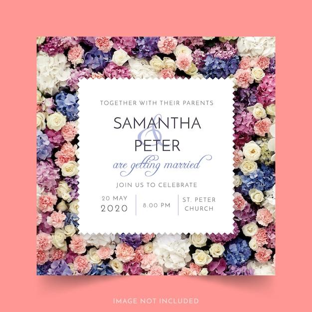 Invitation de mariage avec des fleurs Vecteur gratuit