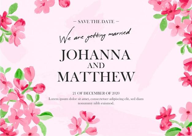 Invitation De Mariage Floral à L'aquarelle Vecteur gratuit