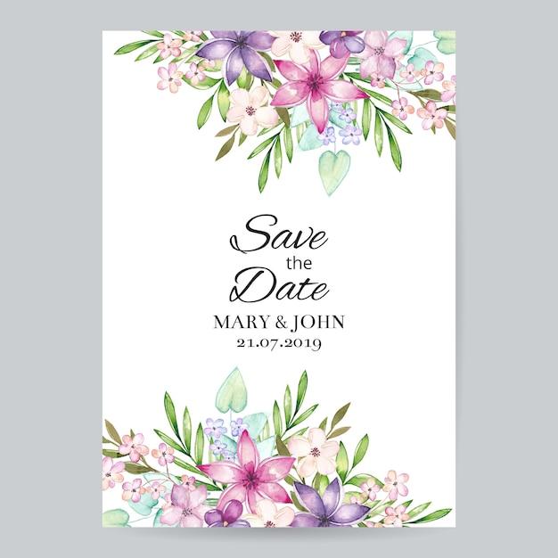 Invitation de mariage floral d'aquarelle Vecteur Premium