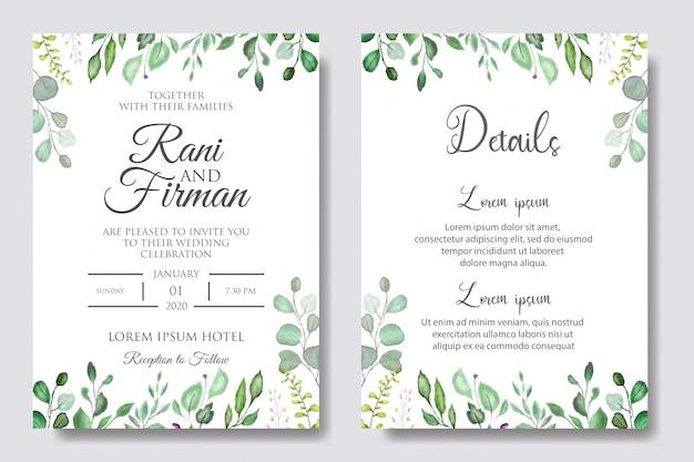 Invitation De Mariage Floral Aquarelle Vecteur Premium