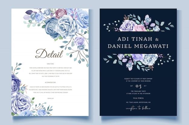 Invitation De Mariage Floral Coloré Vecteur Premium