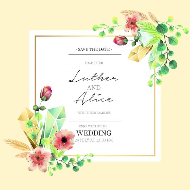 Invitation de mariage floral dans un style aquarelle Vecteur gratuit