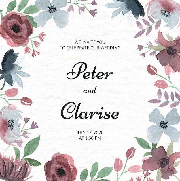 Invitation de mariage floral élégant à l'aquarelle Vecteur Premium
