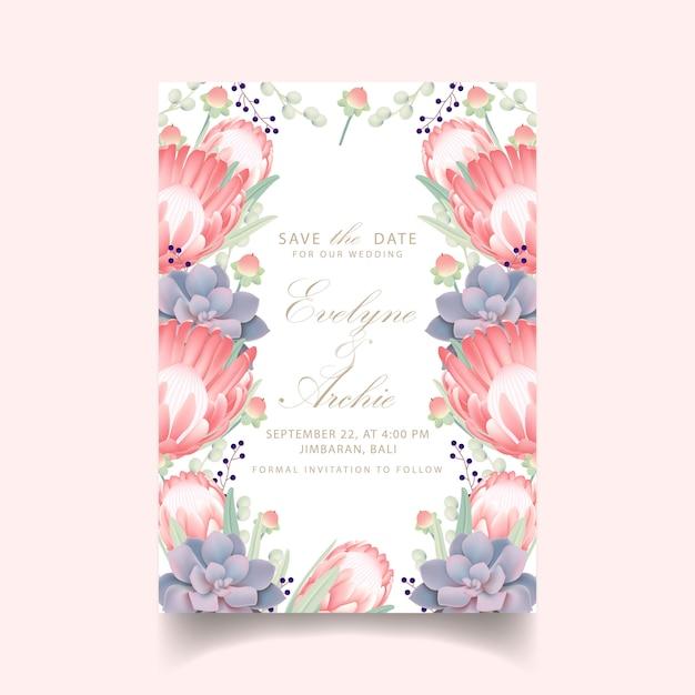 Invitation De Mariage Floral Avec Fleur Protea Et Succulente Vecteur Premium