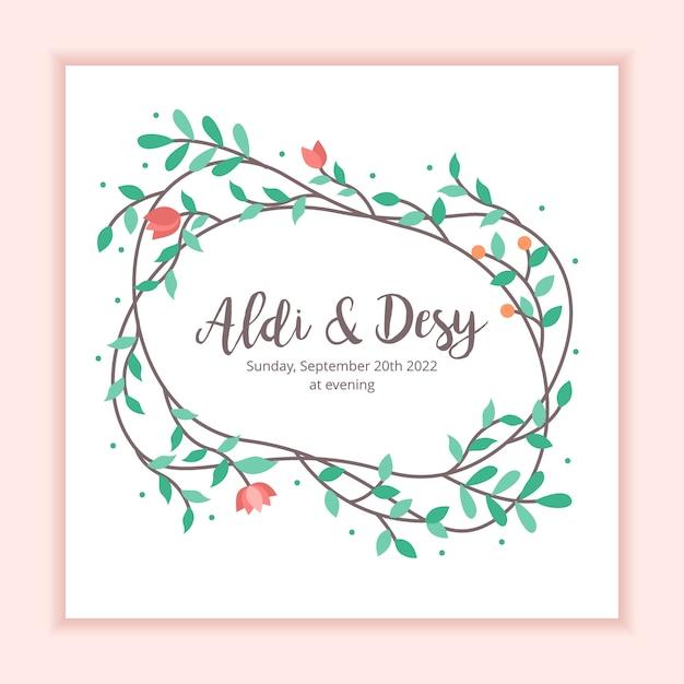 Invitation de mariage floral frame decoration background Vecteur Premium