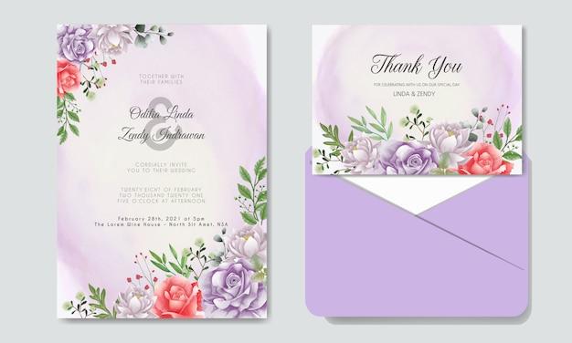 Invitation De Mariage Avec Floral Magnifique Et élégant Vecteur Premium