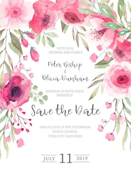 Invitation de mariage floral mignon prêt à imprimer Vecteur gratuit