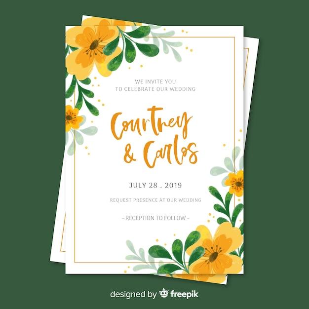 Invitation de mariage floral peint à la main Vecteur gratuit