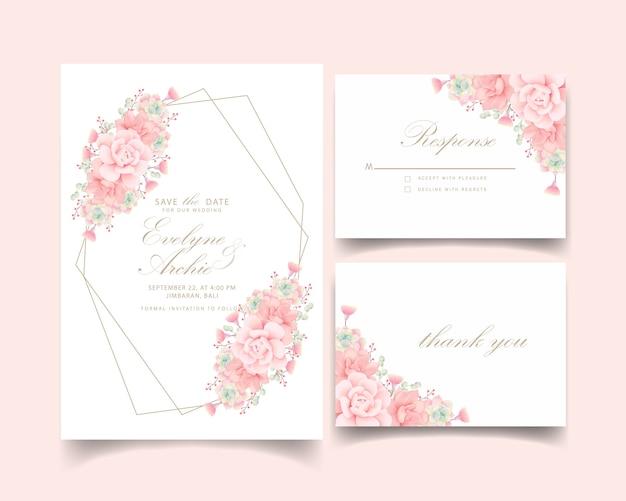 Invitation de mariage floral avec des plantes succulentes Vecteur Premium