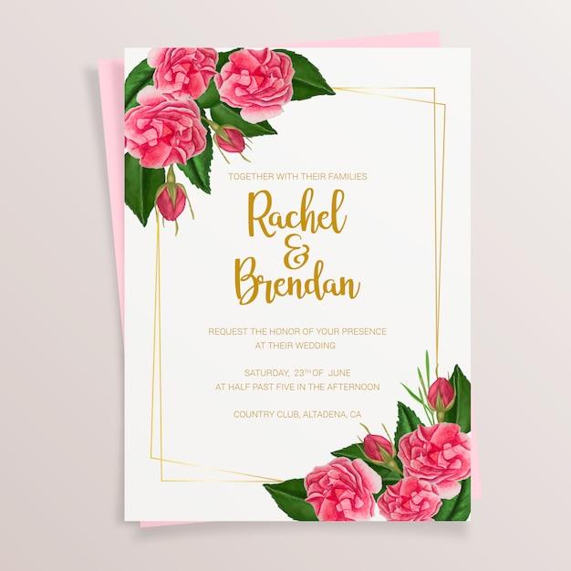 Invitation de mariage floral avec des roses aquarelles Vecteur gratuit