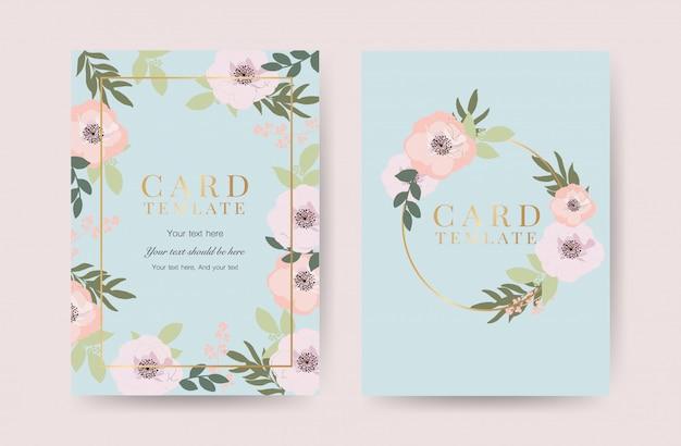 Invitation de mariage floral avec vecteur de cadre doré Vecteur Premium