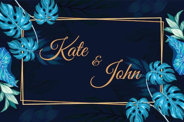 Invitation de mariage floral vintage rectangle Vecteur Premium