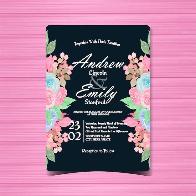 Invitation De Mariage Floral Vecteur Premium