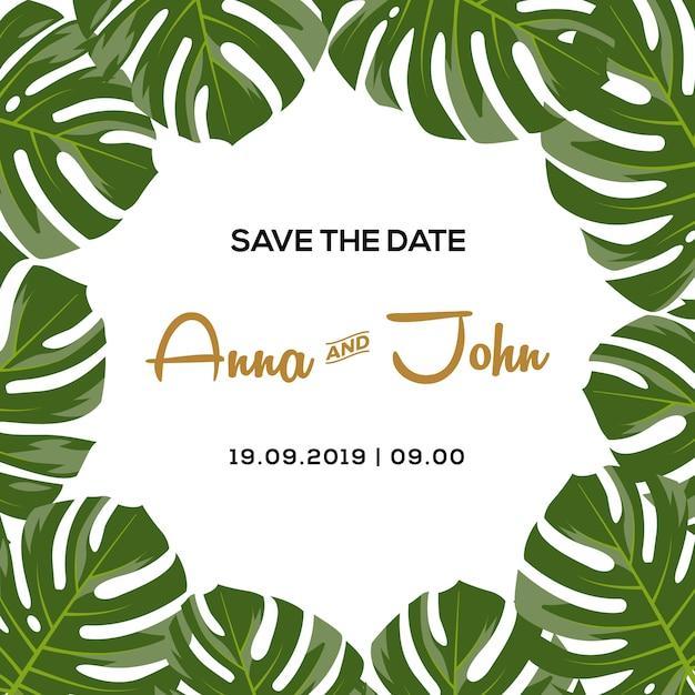 Invitation de mariage de fond tropical Vecteur Premium