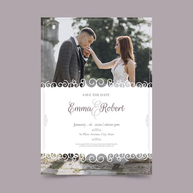 Invitation de mariage avec image Vecteur gratuit