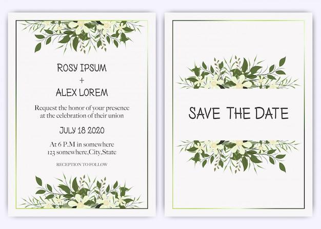 Invitation de mariage, invitation, faites gagner la carte de date avec une élégante anémone de jardin de lavande. Vecteur Premium
