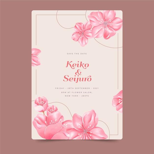 Invitation De Mariage Japonais Avec De Grandes Fleurs Vecteur gratuit
