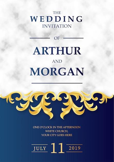 Invitation de mariage de luxe avec fond en marbre Vecteur gratuit