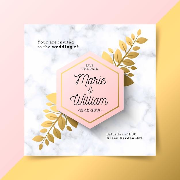 Invitation de mariage de luxe avec texture en marbre Vecteur gratuit