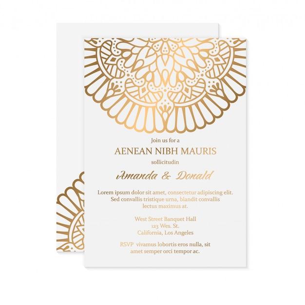 Invitation De Mariage De Luxe Vecteur gratuit