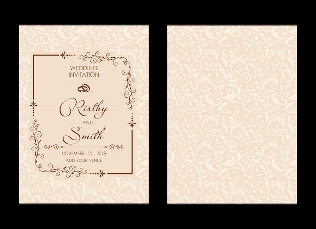 Invitation de mariage de luxe Vecteur Premium