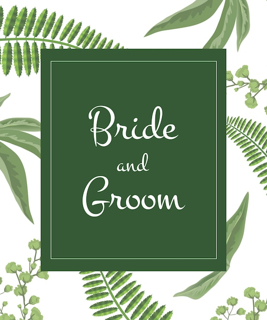 Invitation de mariage mariée et le marié lettrage dans un cadre vert sur le motif de verdure. Vecteur gratuit