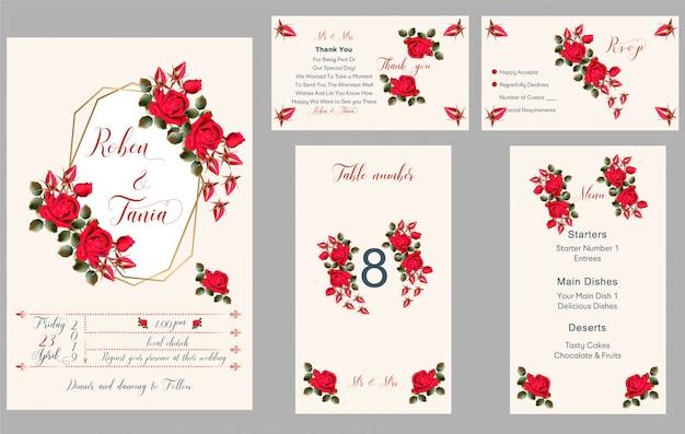 Invitation de mariage, merci, rsvp, menu, numéro de table Vecteur Premium