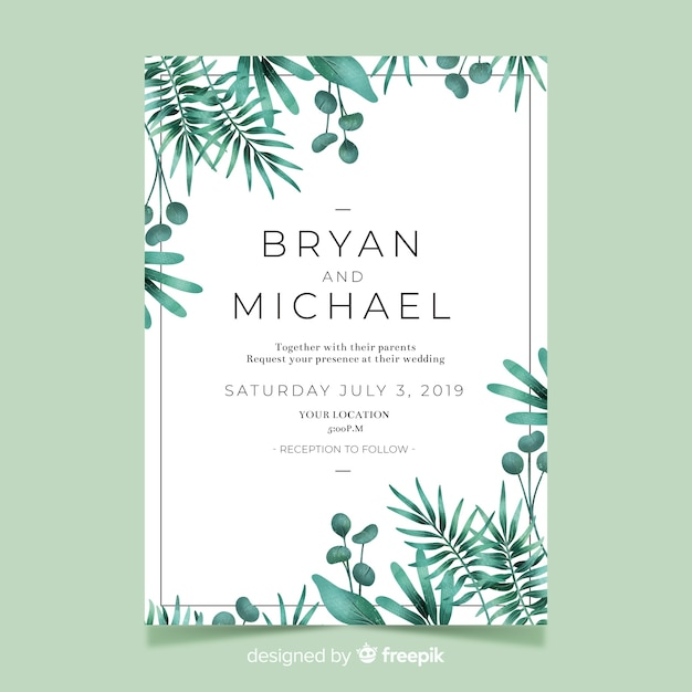 Invitation de mariage mignon avec aquarelle feuilles Vecteur gratuit