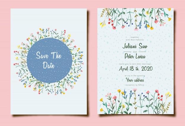 Invitation de mariage mignon avec aquarelle florale Vecteur Premium