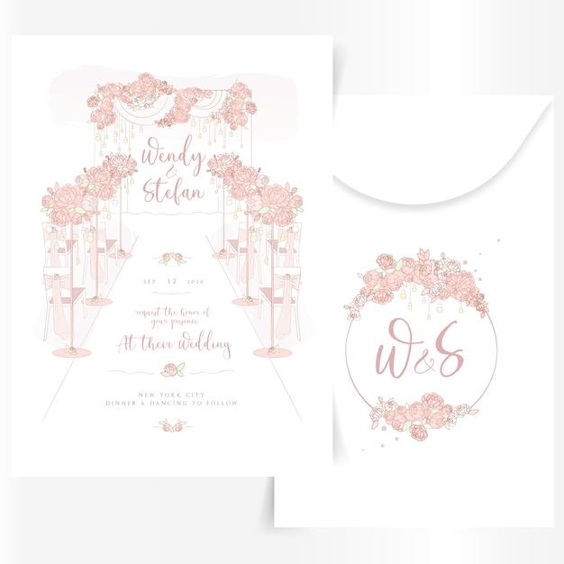 Invitation de mariage mignonne avec des décorations de design d'intérieur Vecteur Premium