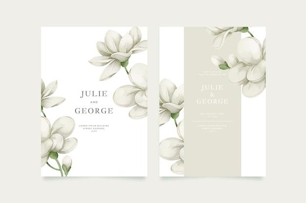 Invitation De Mariage Modèle Avec Grande Fleur Vecteur gratuit