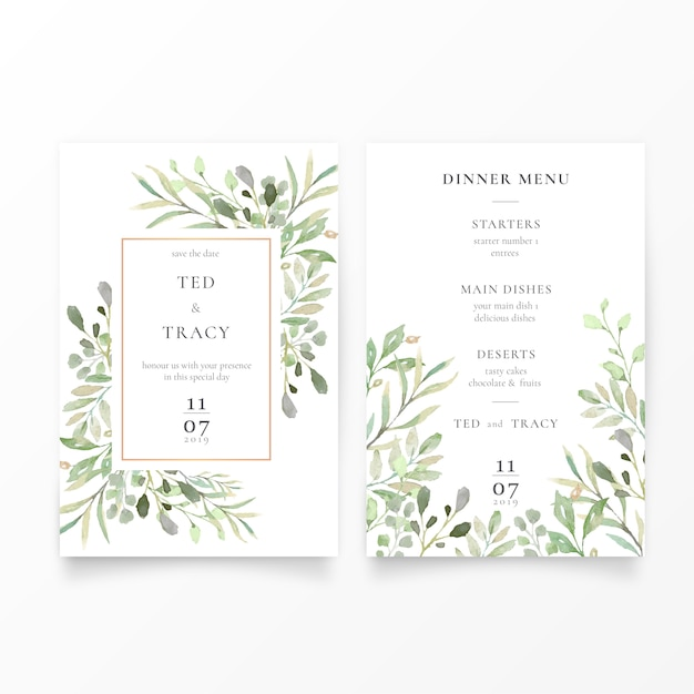 Invitation de mariage et modèle de menu avec feuilles vertes Vecteur gratuit
