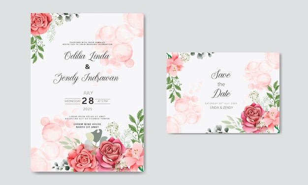 Invitation De Mariage Avec Des Modèles De Fleurs Belles Et Romantiques Vecteur Premium