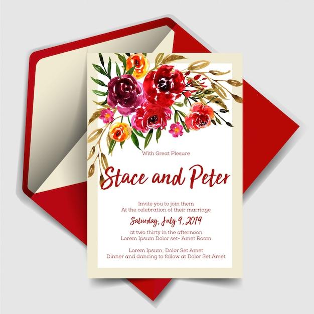 Invitation de mariage moderne avec aquarelle rose rouge Vecteur Premium