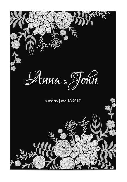 Invitation de mariage noir et blanc. modèle de carte de voeux vintage. cadre de bordure florale ranunculus succulente. illustration vectorielle de broderie fleur Vecteur Premium