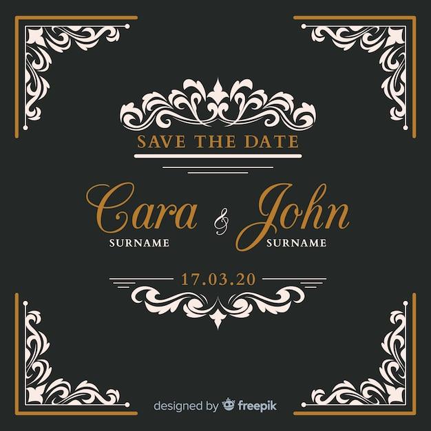 Invitation de mariage ornement noir Vecteur gratuit