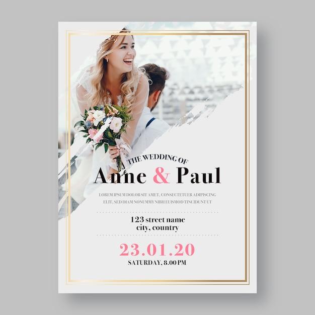 Invitation De Mariage Avec Photo Des époux Et épouse Vecteur gratuit