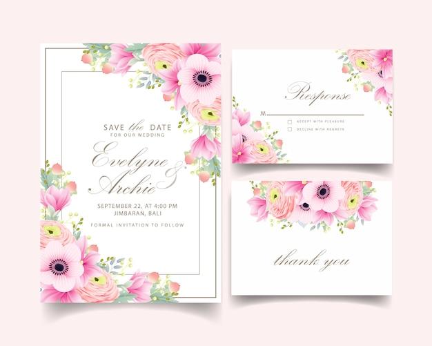 Invitation de mariage ranunculus magnolia anémone fleurs Vecteur Premium