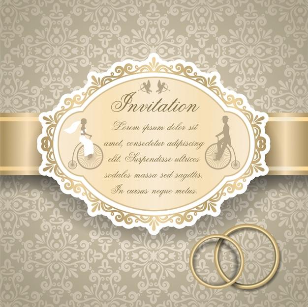 Invitation De Mariage Rétro Vecteur gratuit