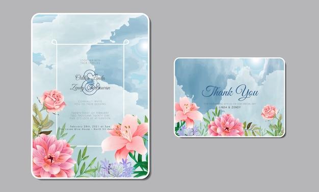 Invitation De Mariage Romantique Avec De Belles Fleurs Vecteur Premium