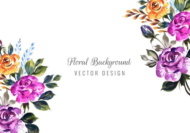 Invitation De Mariage Romantique Avec Modèle De Carte De Fleurs Colorées Vecteur gratuit