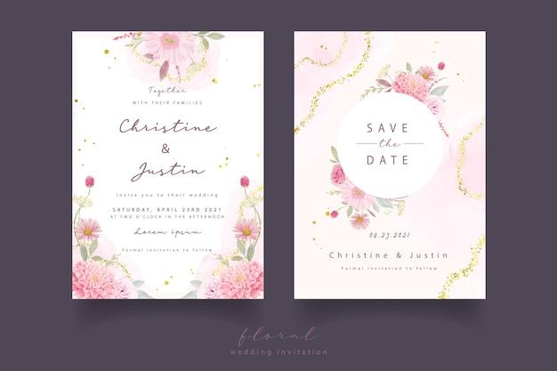 Invitation De Mariage Avec Des Roses Aquarelles, Des Fleurs De Dahlia Et De Gerbera Vecteur gratuit