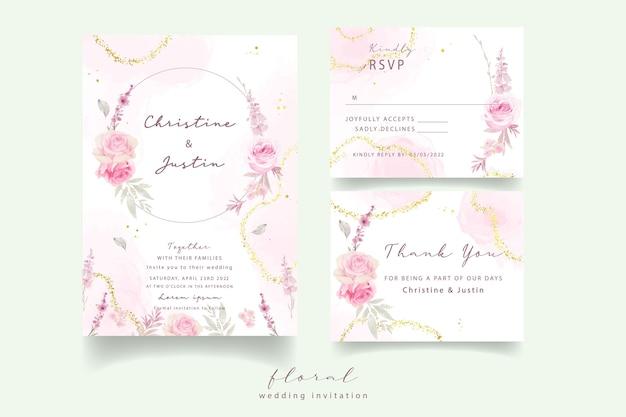 Invitation De Mariage Avec Des Roses Aquarelles Vecteur Premium