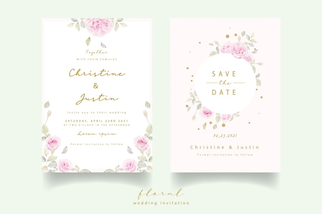 Invitation De Mariage Avec Des Roses Florales Aquarelles Vecteur gratuit