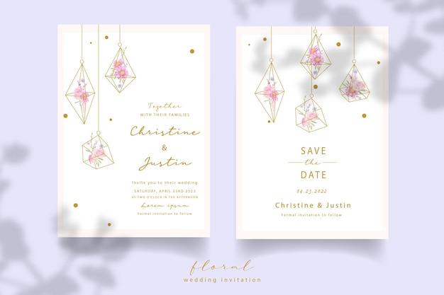 Invitation De Mariage Avec Des Roses Florales Et Des Fleurs D'anémone Vecteur gratuit