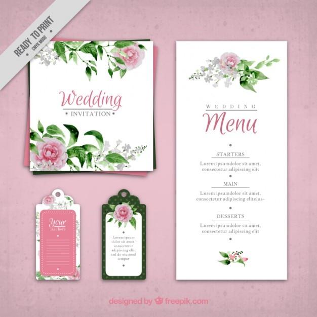 Invitation de mariage de roses peintes à la main et un modèle de menu Vecteur gratuit