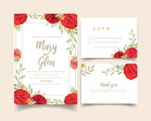 Invitation de mariage avec des roses rouges florales Vecteur Premium