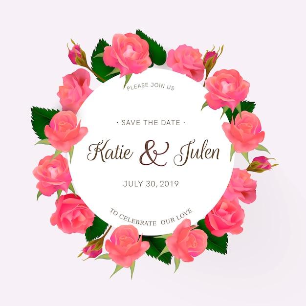 Invitation de mariage avec des roses Vecteur gratuit