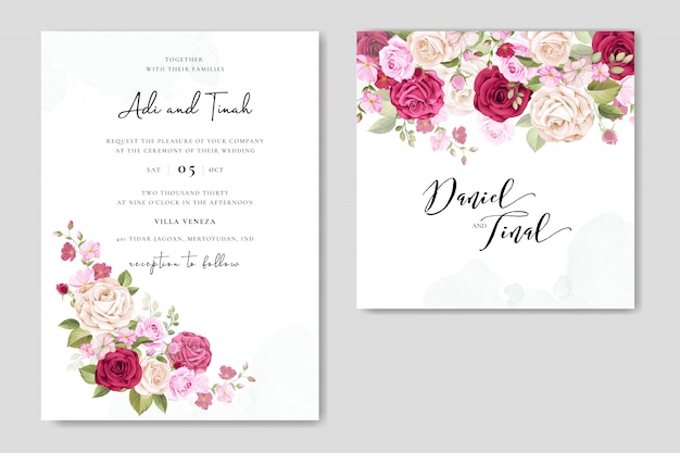 Invitation de mariage sertie de belles fleurs et feuilles Vecteur Premium